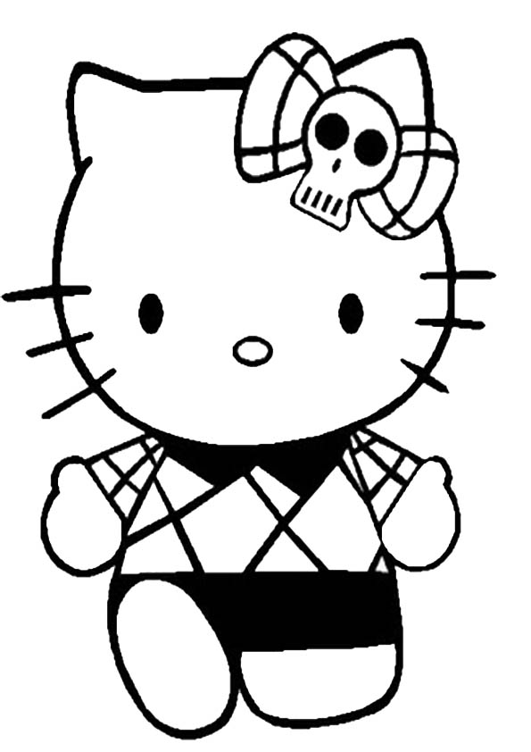 Ausmalbilder Halloween Hello kitty-6