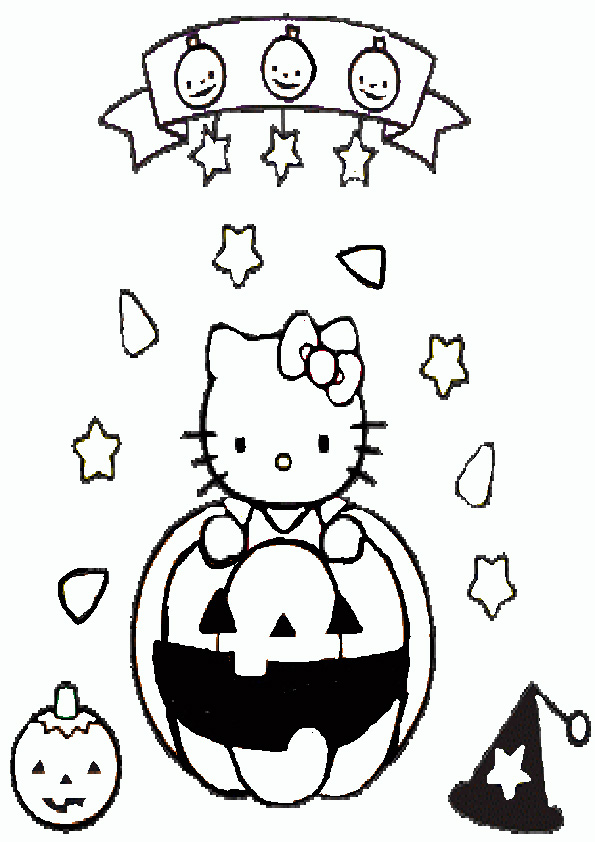 Ausmalbilder Halloween Hello kitty-7