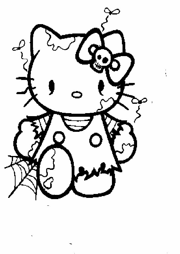 Ausmalbilder Halloween Hello kitty-8