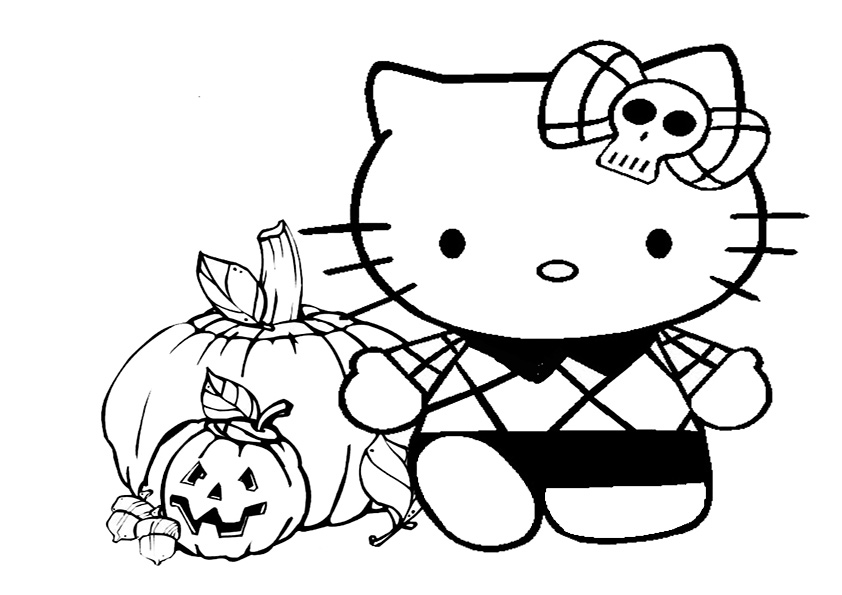 Ausmalbilder Halloween Hello kitty-9