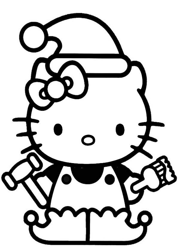 Ausmalbilder  Weihnachten Hello kitty-10