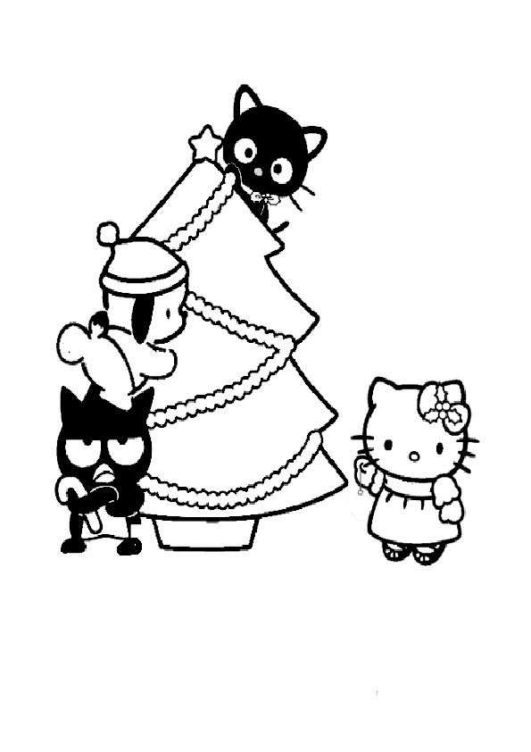 Ausmalbilder Weihnachten Hello kitty-4