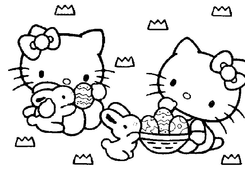 ausmalbilder ostern hello kitty-1