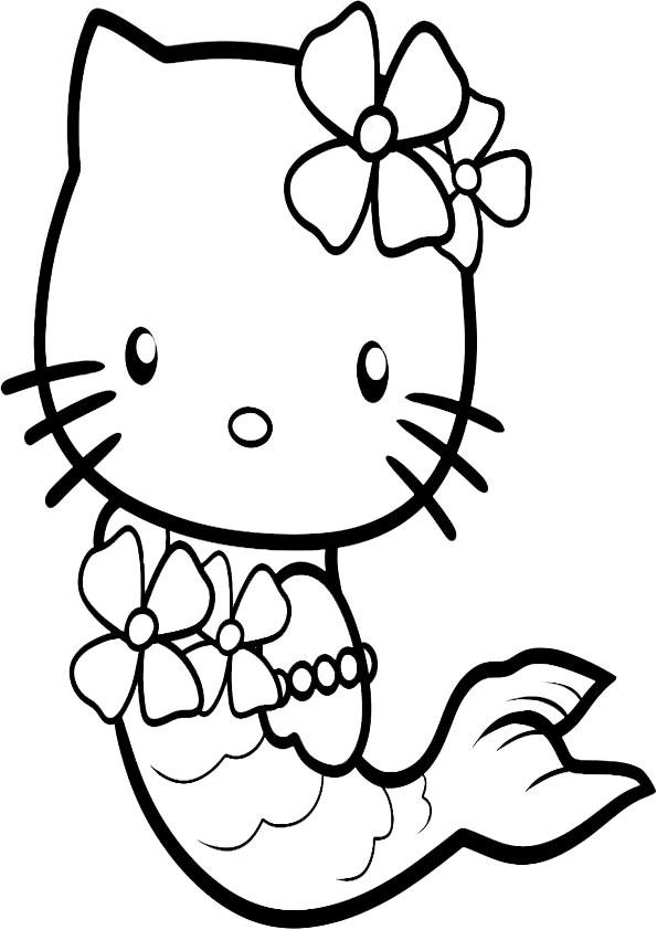 ausmalbilder hello kitty meerjungfrauen-3