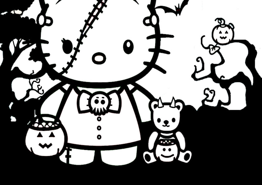 ausmalbilder halloween hello kitty-19